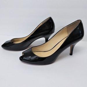 VC Vince Camuto Black Patent Leather Peep Toe Heel